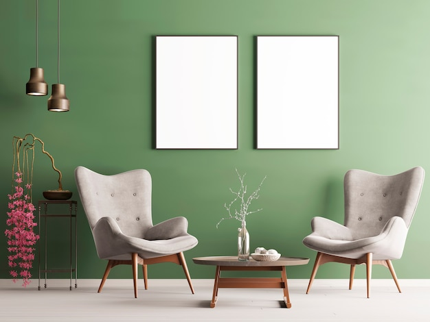Mock up poster in pastel modern interior with green wall, soft armchairs, plant and lamps. 3d rendering