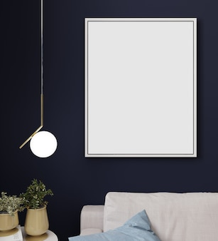 Mock up poster or picture frame in modern minimalistic interior background, scandinavian style, 3d illustration