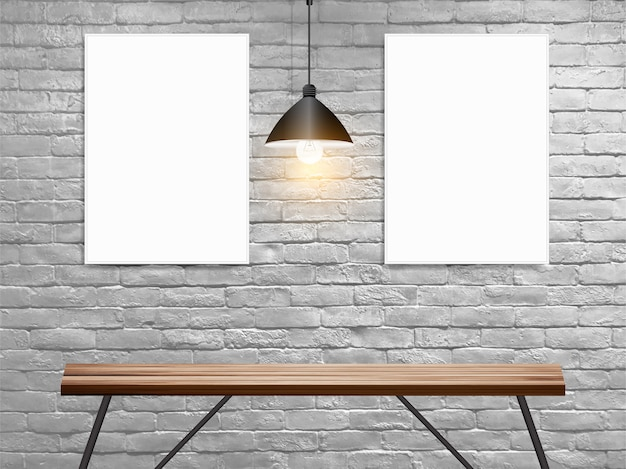 Mock up poster on white brick wall in interior with wood table