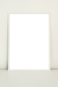 Mock up poster in a white frame on white background
