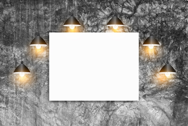 천장 램프 흰색 벽돌 벽, 로프트 작업 공간 개념 포스터를 모의