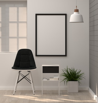 Mock up posters frame in modern living room chair and ornamental