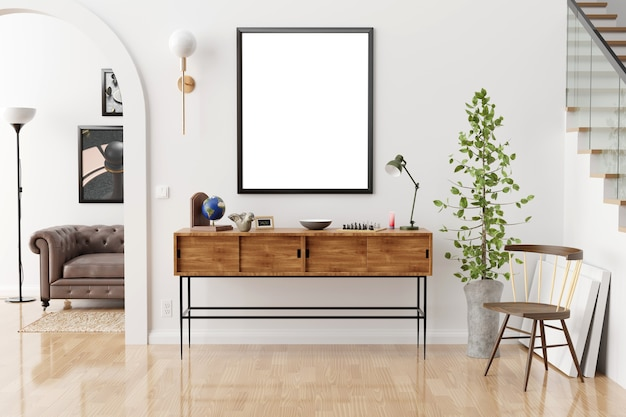 Mock up posters frames and canvas in vintage hipster loft interior