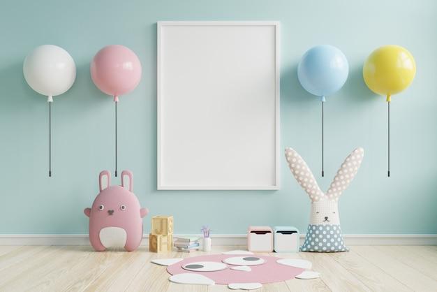 Макет плакаты в детской комнате интерьер и многоцветный светильник на синей стене.