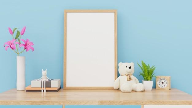 子供部屋のインテリアのポスター、空の青い壁、3 dレンダリングのポスターのモックアップ