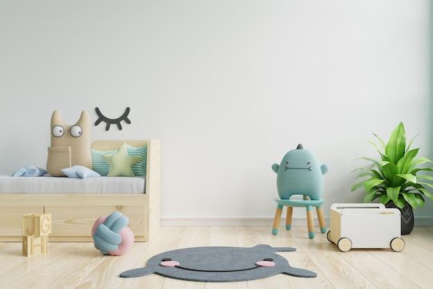 子供部屋のインテリア、空の白い壁の背景のポスターのポスターのモックアップ。