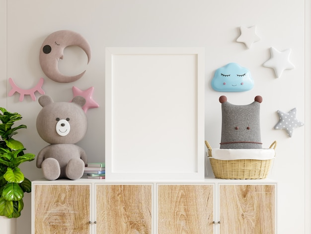 子供部屋のインテリアのポスター、木製キャビネットのポスターのモックアップ