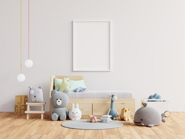 子供部屋のインテリアのポスターのモックアップ。