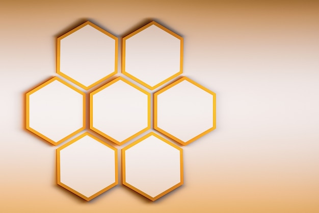 Mock up presentation with seven hexagons on light golden background.