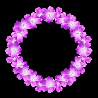 Mock up round floral frame from flowers of wild geranium isolated on black background
