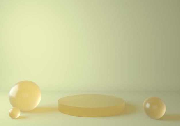 製品展示用のガラス黄色の表彰台でシーンを模擬