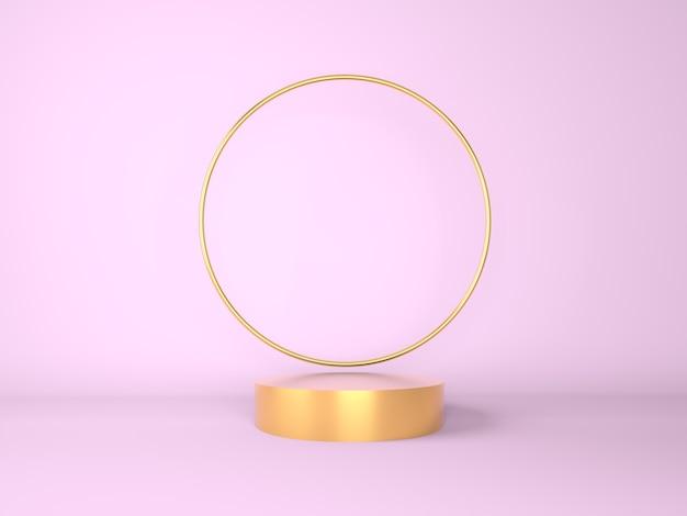 製品展示用の金の表彰台でシーンをモックアップ