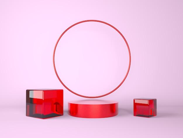 製品展示用の赤い表彰台のあるシーンのモックアップ