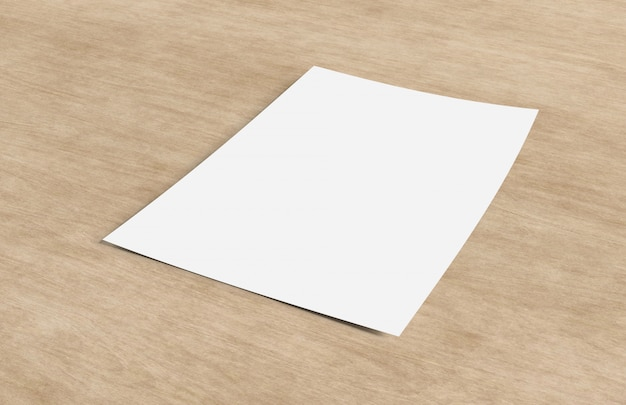 Mock up of a sheet of paper isolated on a background with shadow - 3d rendering