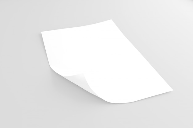 Mock up of a sheet of paper isolated