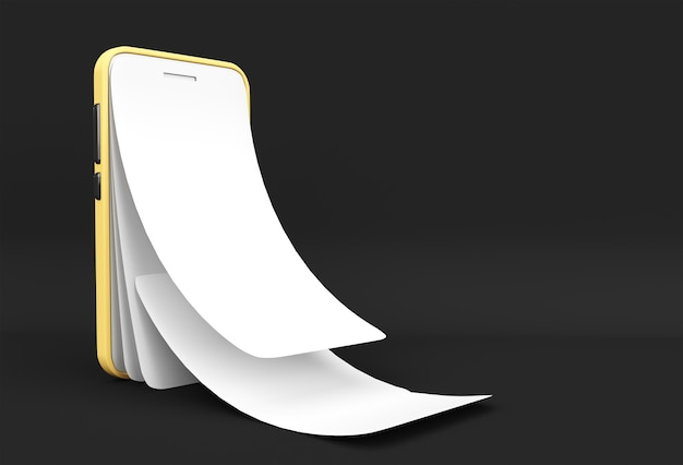 Mock-up smart phone with empty screen replacement screen protector glass 3d rendering.