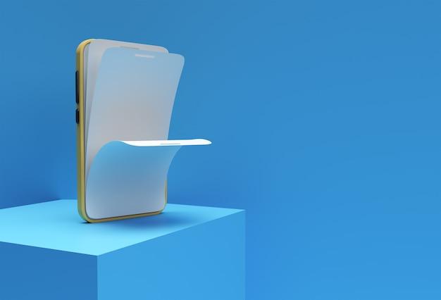 빈 화면 교체 화면 보호기 유리 3d 렌더링이 있는 모의 스마트 폰.