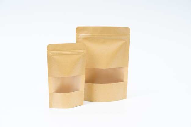 Mock up snack paper bag on white space Premium Photo