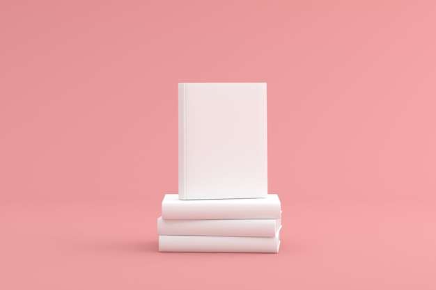Mock up of stacked white hardcover book.