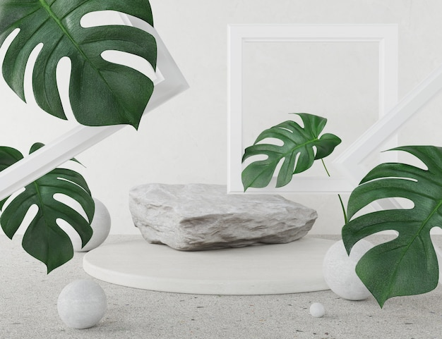 A mock up stage podium displaying abstract design of stone and leaves