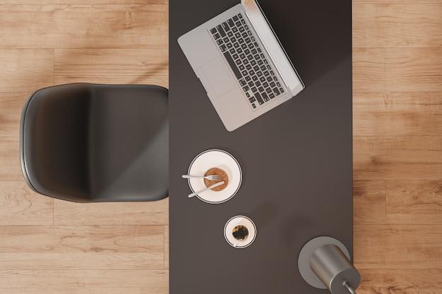 Макет вид сверху рабочей области с ноутбука, кофе и тормозной на столе. 3d-рендеринг.