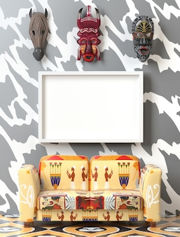 Mock up tribal interior. soft sofa with colorful ethno upholstery