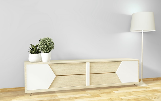 Mock up tv cabinet and display with room minimal design and decoration japanese style