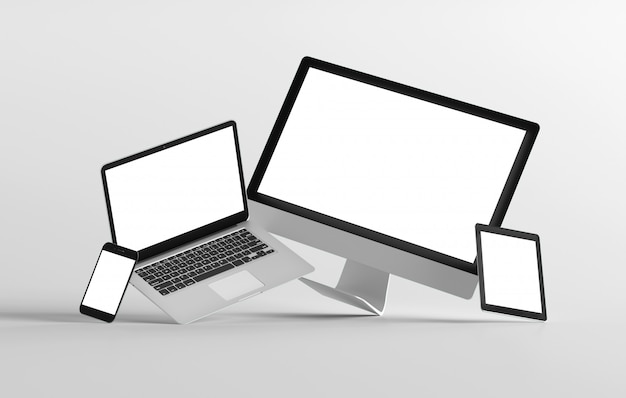 Mock up view of a devices isolated on a background with shadow