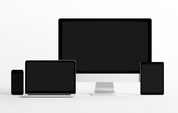 Mock up view of a devices isolated  with shadow