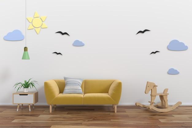 Mock up wall in child room interior.3d rendering, 3d illustration
