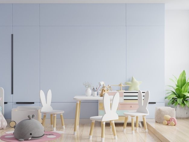 Mock up wall in the children's room in blue wall background .3d rendering