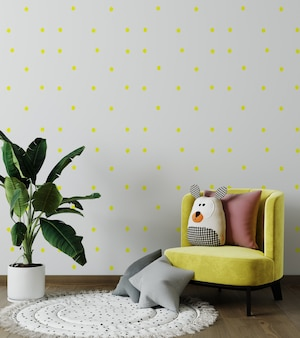 Mock up wall in the children's room in gray and yellow color wall background.