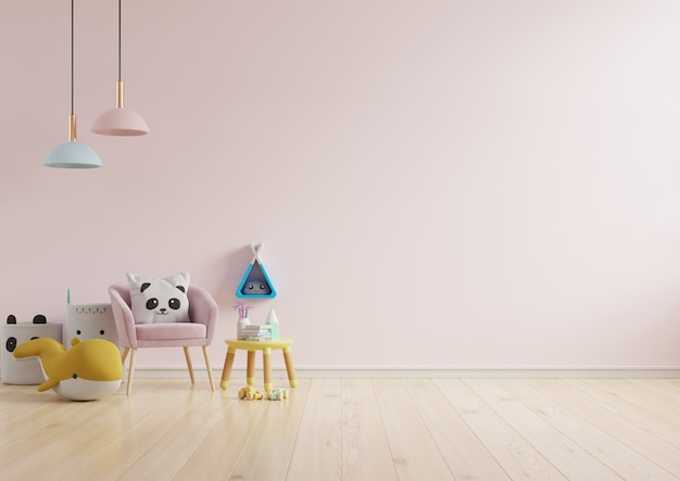 Mock up wall in the children's room in light pink color wall background .3d rendering