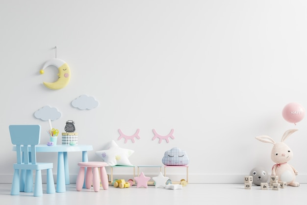 Mock up wall in the children's room in white wall background.3d rendering