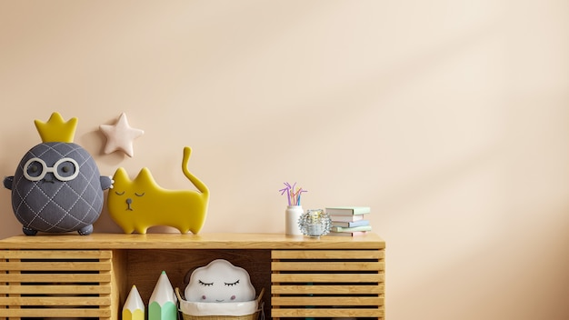 Mock up of a wall in a children's room with a light cream hue backdrop,3d rendering