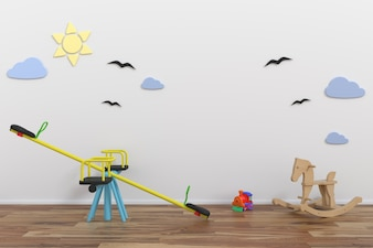 Mock up wall in child room interior