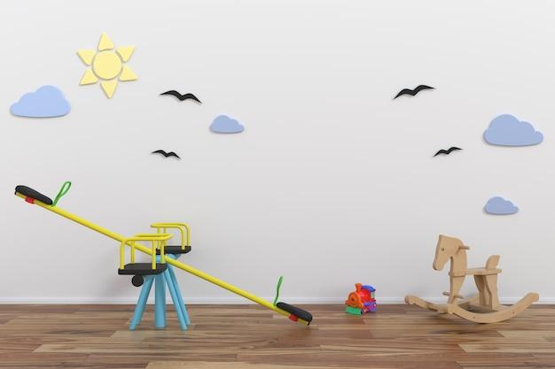 子供の部屋の内部の壁をモックアップ