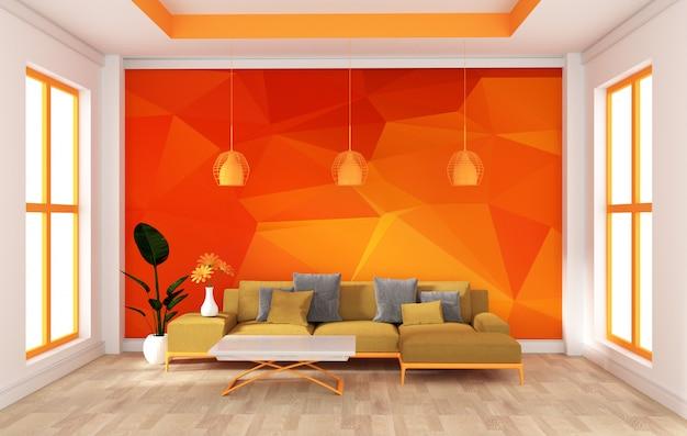 モダンなオレンジ色の部屋の壁をモックアップします。 3dレンダリング