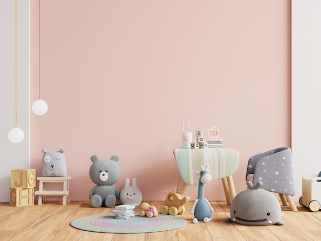 明るいピンク色の壁の背景で子供部屋の壁をモックアップします。 3dレンダリング
