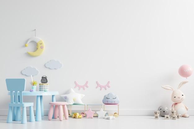 白い壁の背景で子供部屋の壁をモックアップします。3dレンダリング