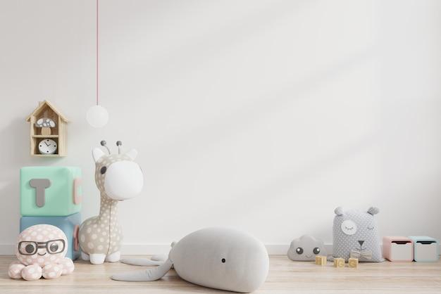Макет стены в детской комнате на белом фоне стены.