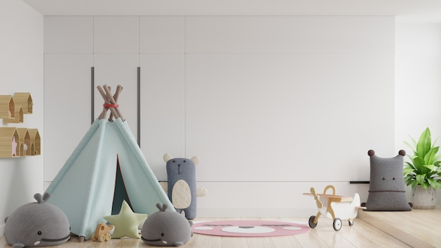 흰 벽 배경에서 어린이 방의 벽을 조롱하십시오.