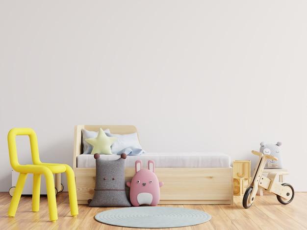 Макет стены в детской комнате на белой стене