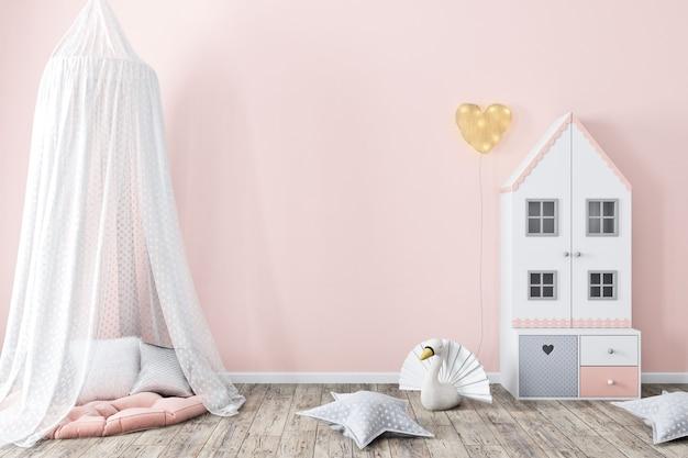 子供部屋の3dレンダリングで壁のピンクをモックアップ