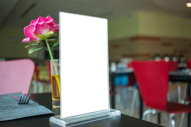 Mock up white label for blank menu frame in restaurant