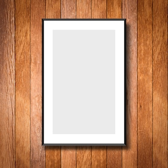Mock up white poster frame on cream wood wall background