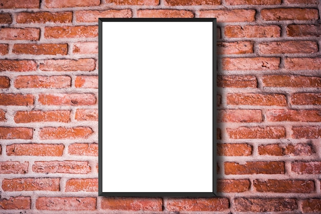 Mock up white poster frame on red vintage retro brick wall background texture