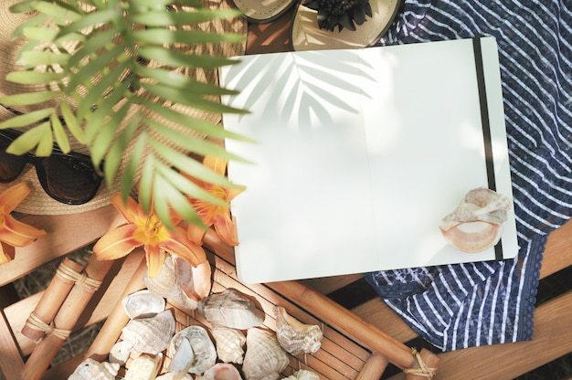 Mock up with notebook diary, outdoor