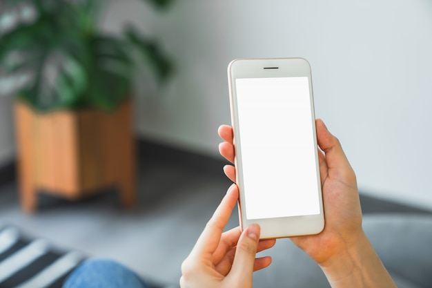 Mock up of woman hand holding smartphone and touching blank screen.