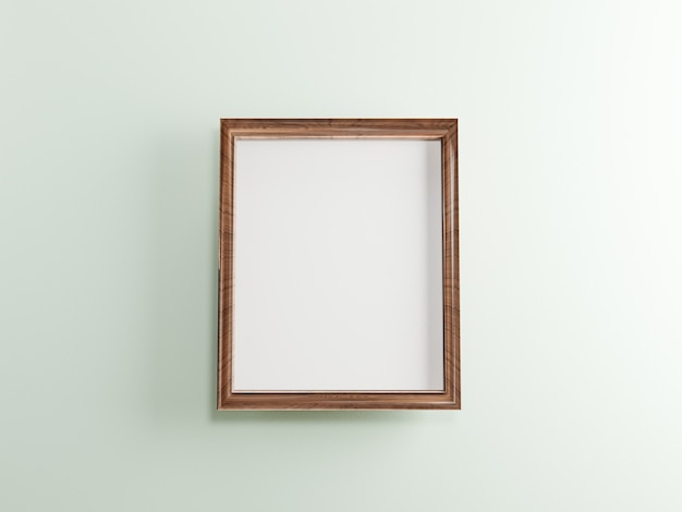 Mock up wooden photo frame with  on white wall background , 3d rendering.